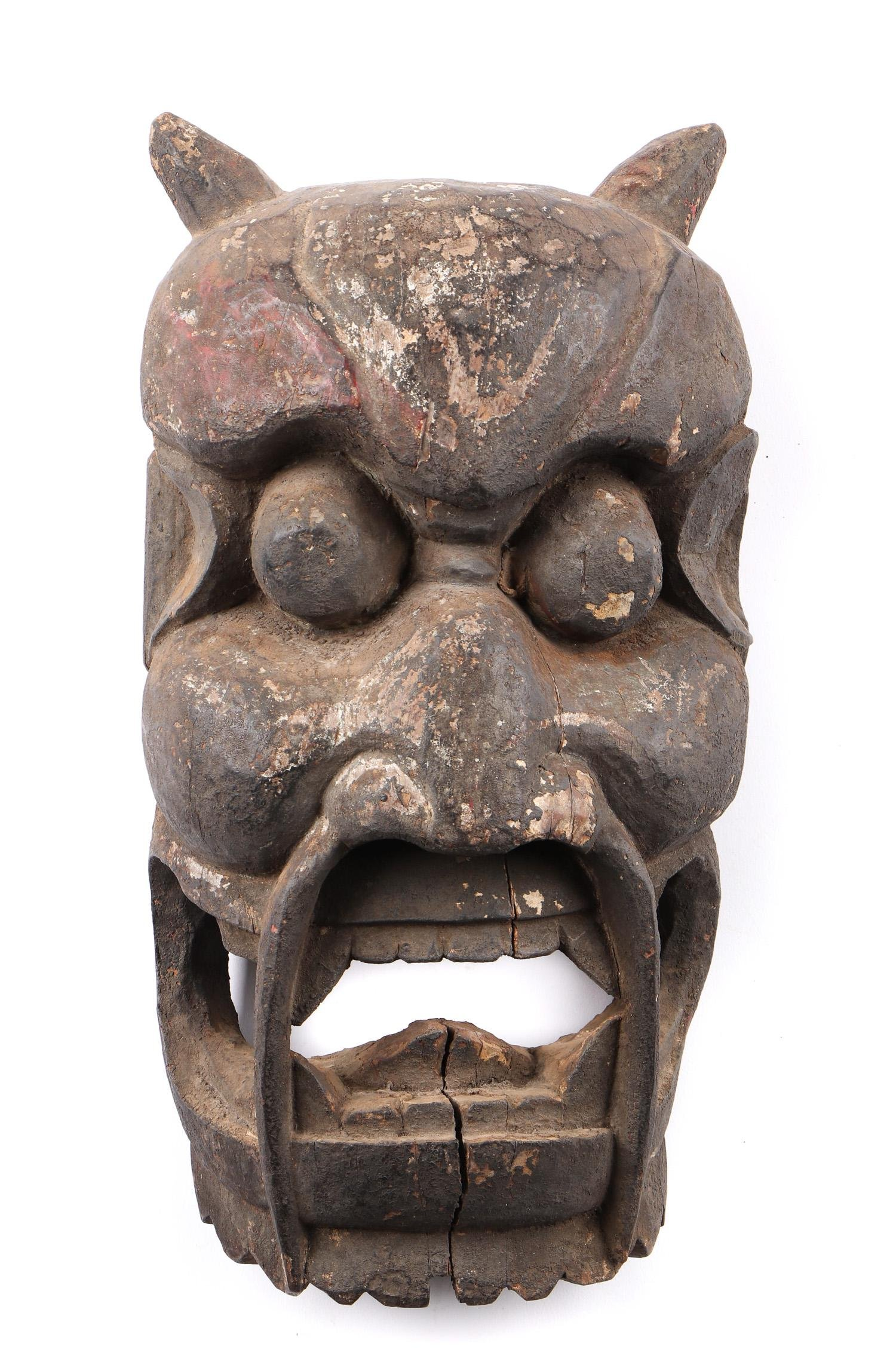 Nuo Carved Wood Mask, China 18th/19th c.