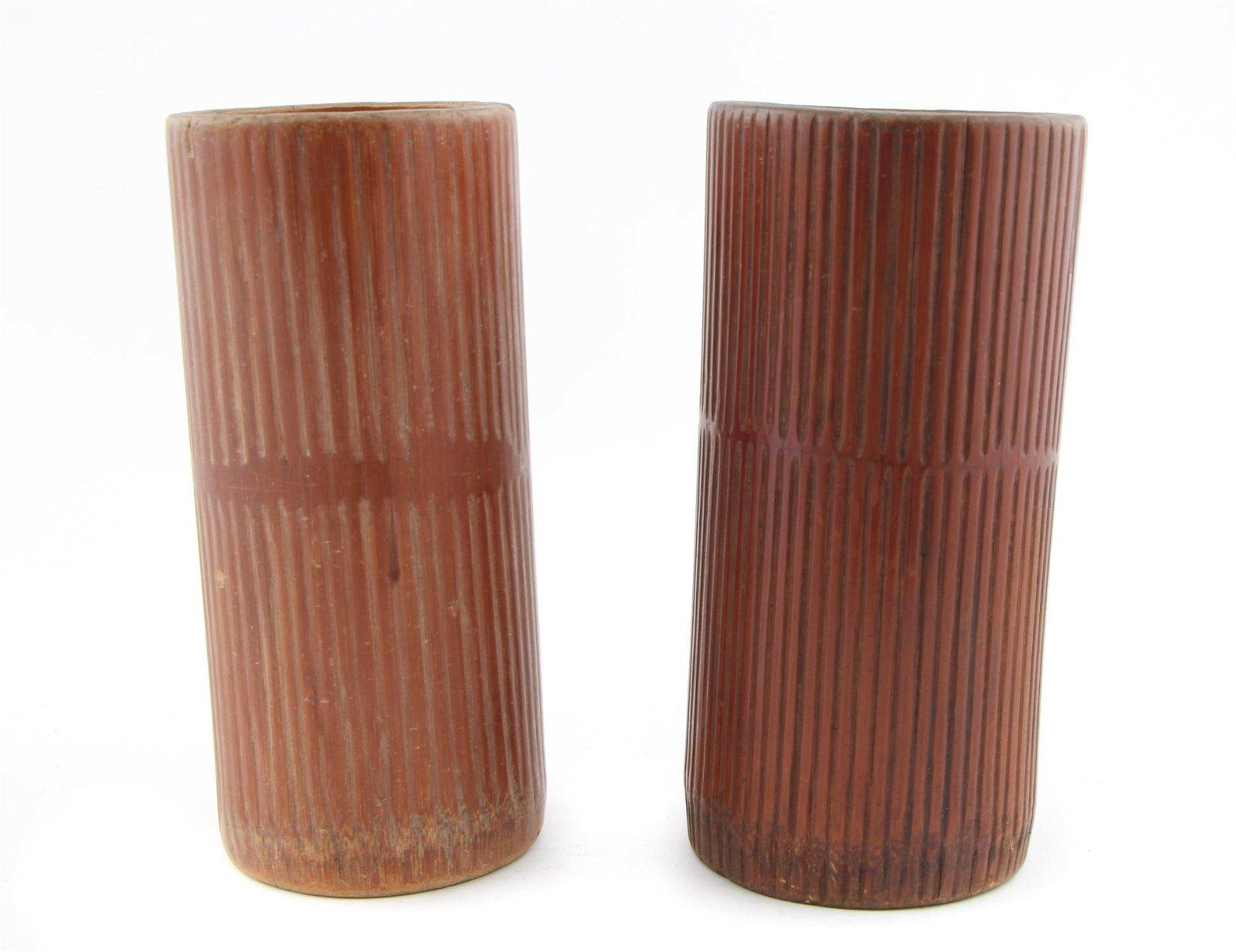 2 Large Chinese  Bamboo Brush Pots