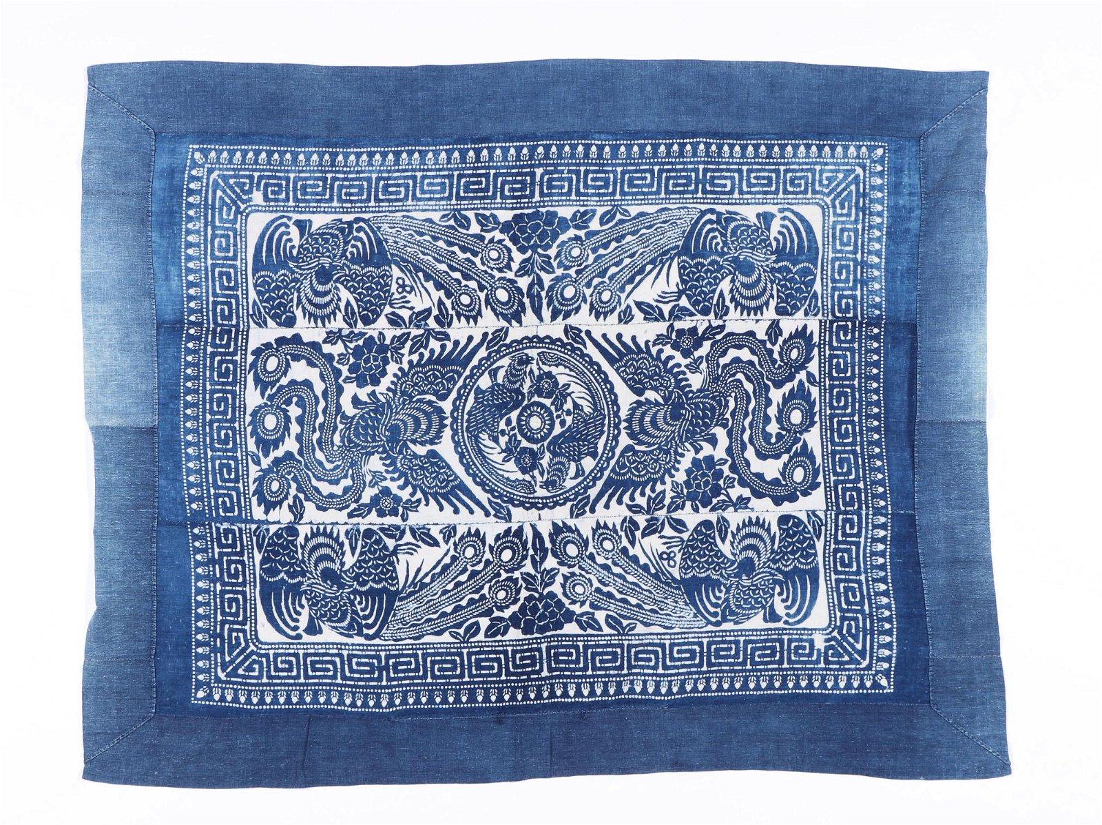 Old Miao Stenciled Batik Cotton Blanket, China