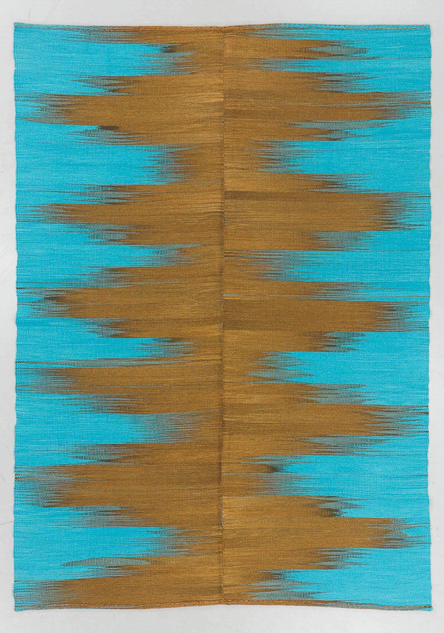 Modern Wool Kilim, Turkey, 6'7'' x 9'3''
