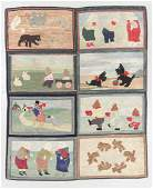 Whimsical Antique American Folk Art Rug: 6'9'' x 8'3''