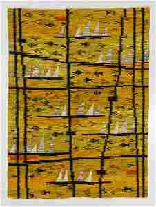 Modernist Pictorial Kilim, Poland, Mid 20th C., 4'9'' x