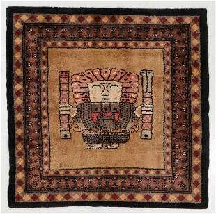 Wool Pile Rug, Peru, Mid 20th C., 5'6'' x 5'6''