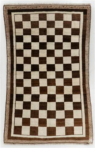 Large Checkerboard Gabbeh Rug, Persia, Mid 20th C.,