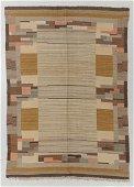 Modernist Wool Kilim, Sweden, Mid 20th C., 5'3'' x