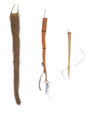 Three Long Indonesian Koteka Penis Sheaths, PNG