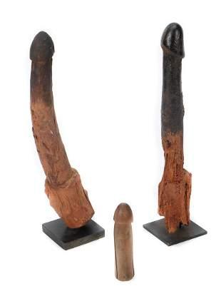 Three African Fon Phallic Fetishes