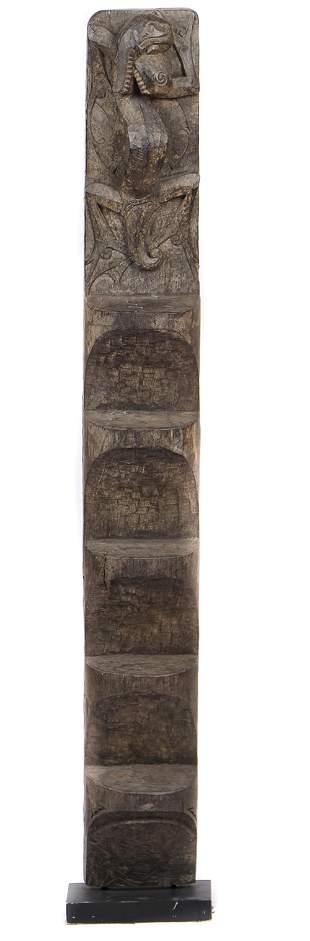 Dayak Granary Ladder, Borneo, early 20th C.