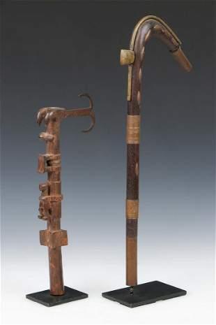 Two African Fon Staffs, Benin, early 20th century