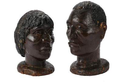 Pair of Fine and Rare Maori Kauri Gum Busts, New