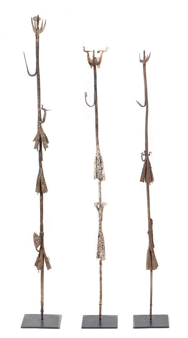 Three African Yoruba Iron Ritual Staffs