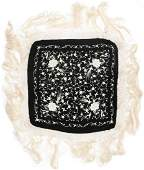 Chinese Canton Black and White Silk Shawl