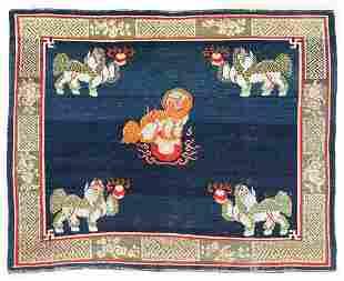 Foo Lion Monastery Rug, Tibet, Circa 1900, 6'10'' x