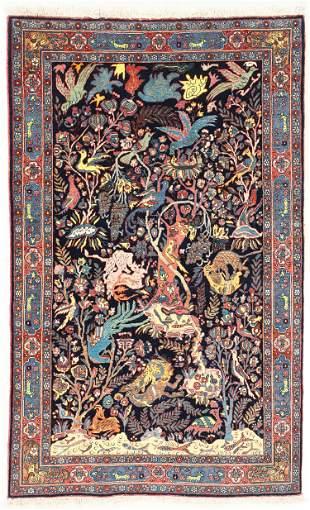 Fine Pictorial Bidjar Rug, Persia, Early 20th C., 4'3''