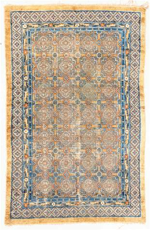 Chinese Silk and Metal Thread Rug, 19th C., 5'2'' x