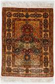 Hereke Silk Rug, Turkey, Mid 20th C., 3'4'' x 4'6''