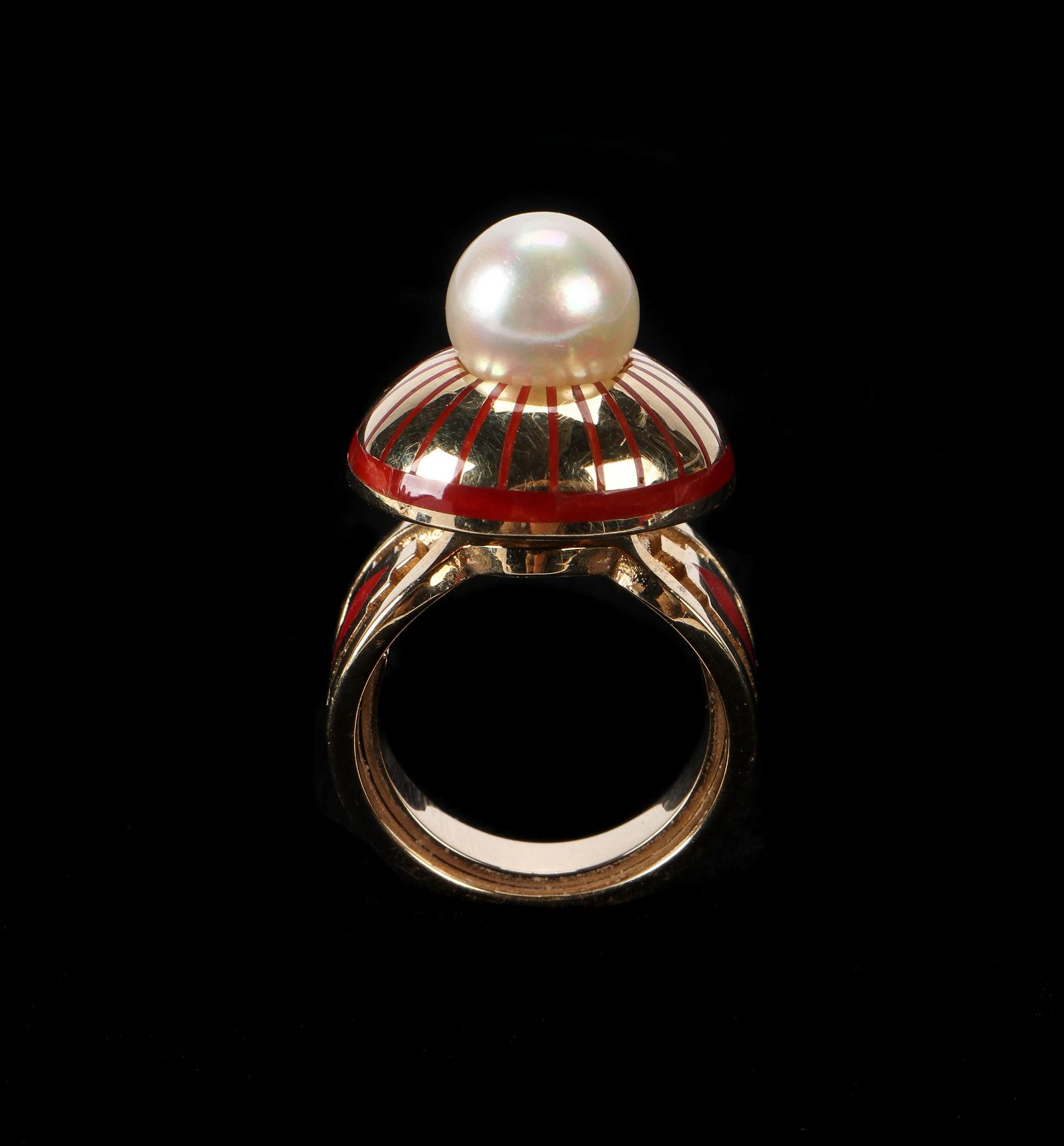 Navajo Gold, Coral & Pearl Ring attributed to Vernon