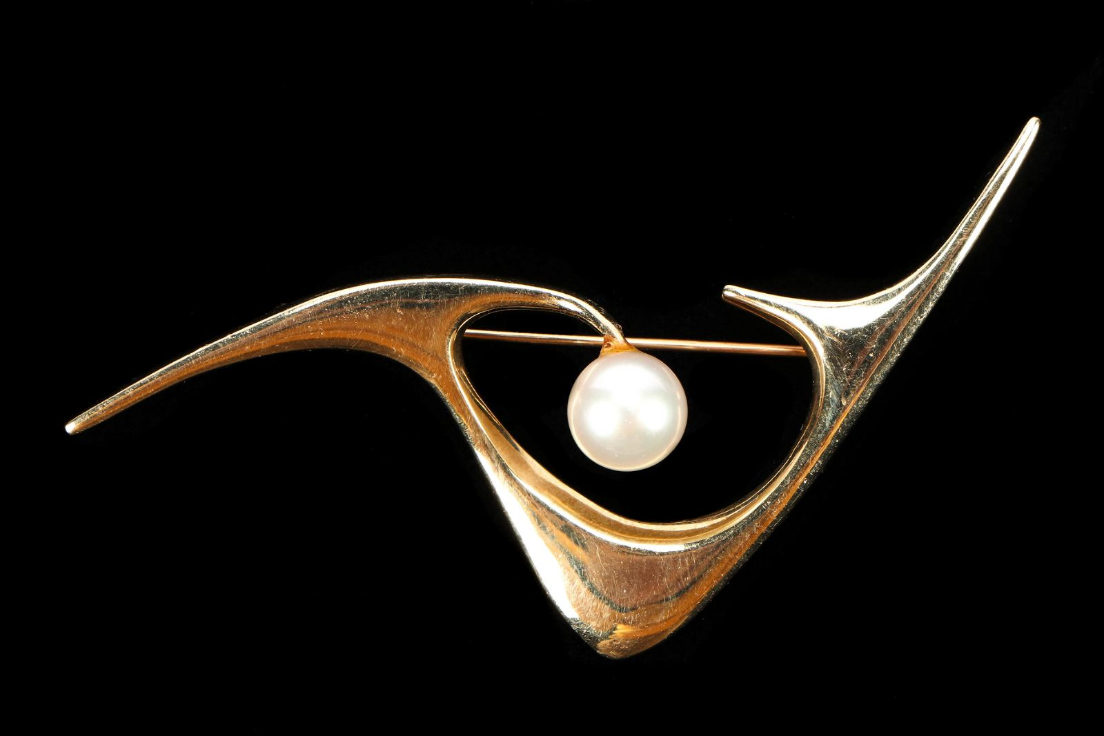 Ed Weiner Mid Century 14k Gold Pin with Pearl