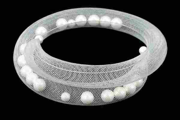 De Farro Grey Mesh Pearl Necklace, Janete Zamboni