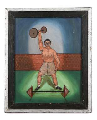 """Charles W. Howe (1892-1982) """"The Weightlifter"""", 1959"""