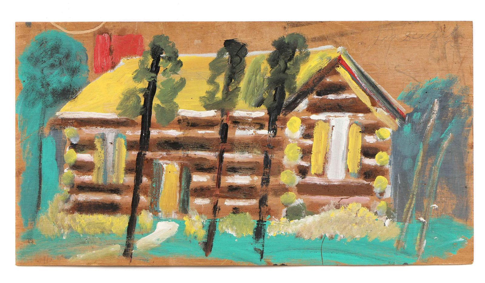 """Jimmy Lee Sudduth (1910-2007) """"Log Cabin"""""""