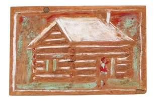 "Jimmy Lee Sudduth (American, 1910-2007) ""Log Cabin"""