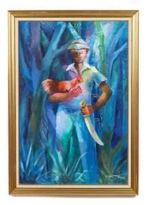 """Dieudonne Cedor (1925-2010) """"L'homme et son Coq"""""""