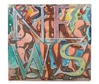 "Jack Gerber (American, b. 1927) ""News"" Painting"