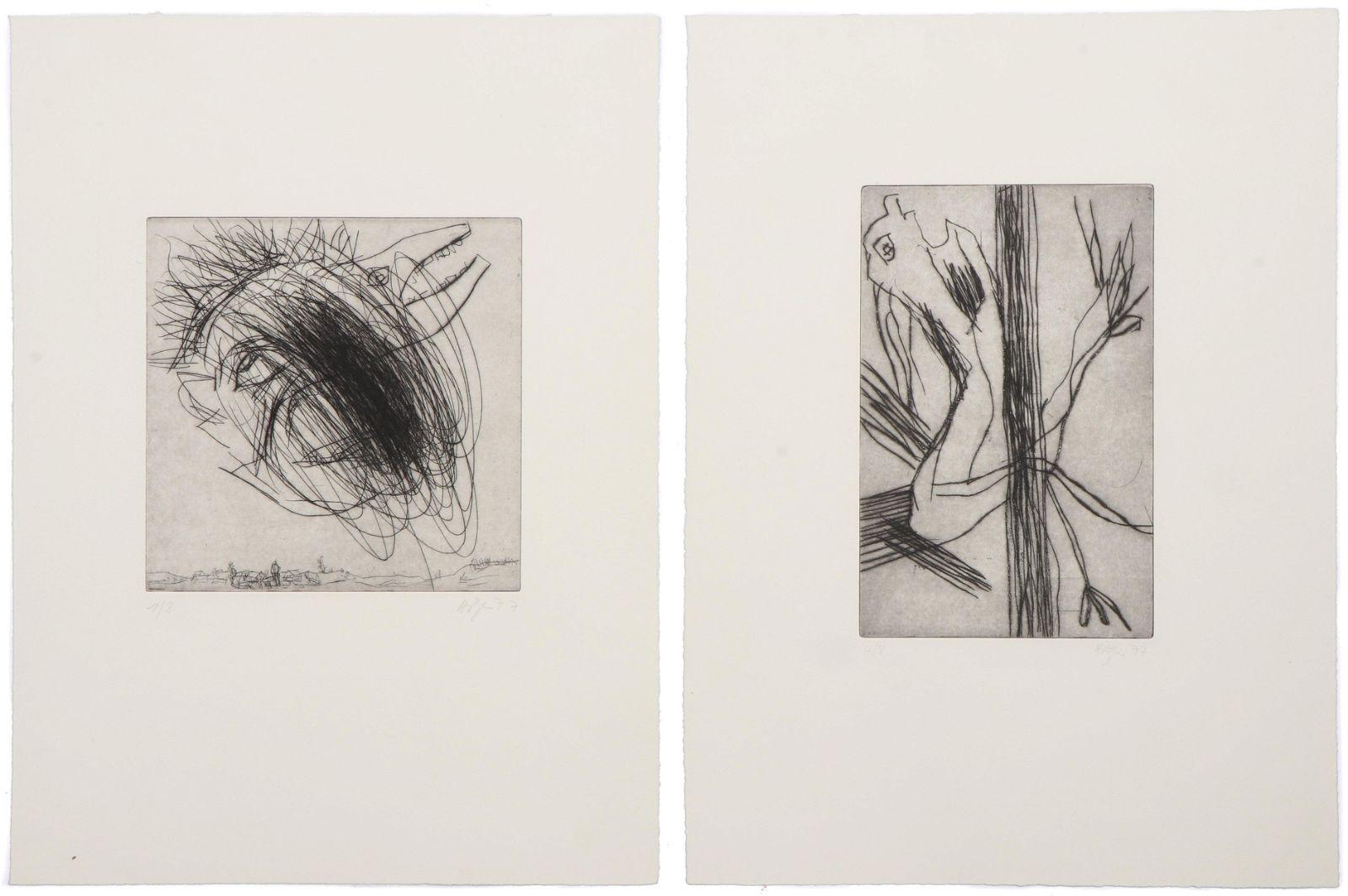 Franz Hitzler (German, b. 1946) 2 Drypoint Etchings