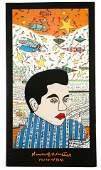 Signed Howard Finster Poster of Elvis