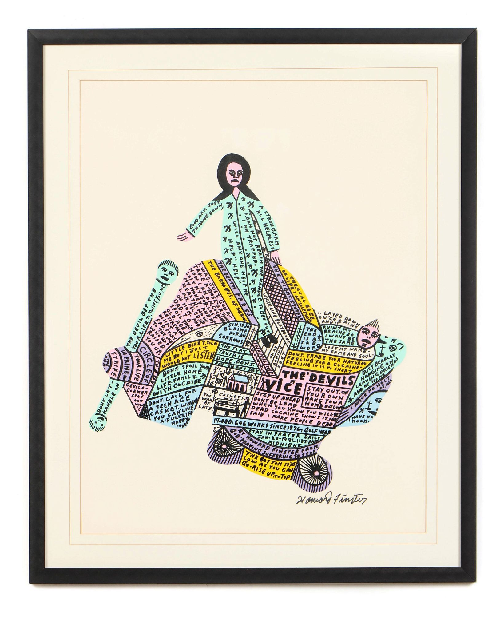 "Framed Howard Finster ""The Devil's Vice"" Print"