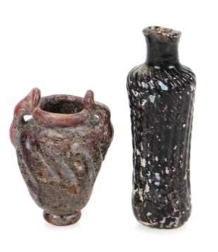 Two Islamic Ribbed Glass Miniature Vessels