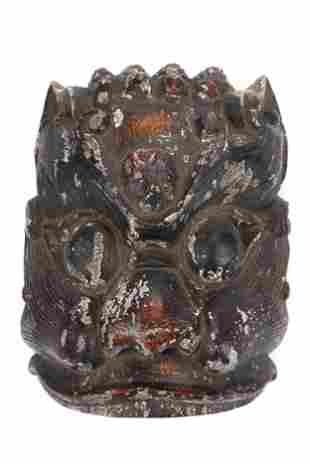 Demonic Mask of Polychromed Wood China 19th c