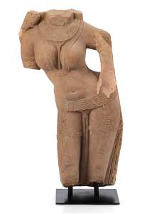 Large Ancient Indian Carved Stone Figure of a Celestial