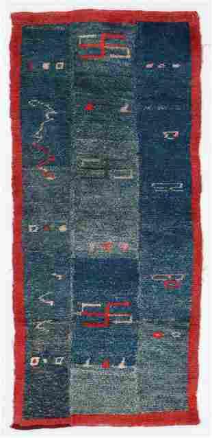 3 Panel Tsuk Truk Rug, Tibet, Early 20th C., 2'3'' x