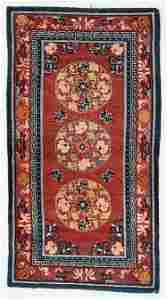 3 Medallion Khaden Rug, Tibet, Circa 1900, 2'4'' x