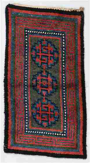 3 Medallion Khaden Rug, Tibet, 19th C., 2'9'' x 5'8''
