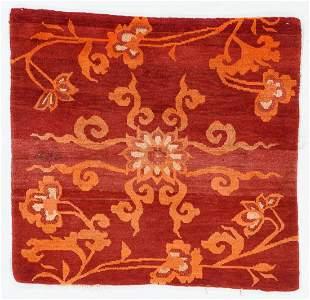 Maroon/Orange Floral Square Rug, Tibet, Circa 1920,