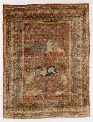Silk Tabriz Pictorial Rug, Persia, 19th C.