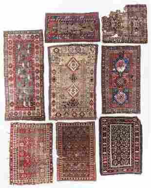Estate Group of 8 Antique/Worn Caucasian Rugs