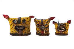 Three Mexican Zitlala Festival Tigre Masks