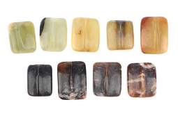 9 Antique Chinese Agate Beads, 19th century