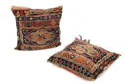 Pair of Antique Caucasian Sumak Saddle Bag Pillows