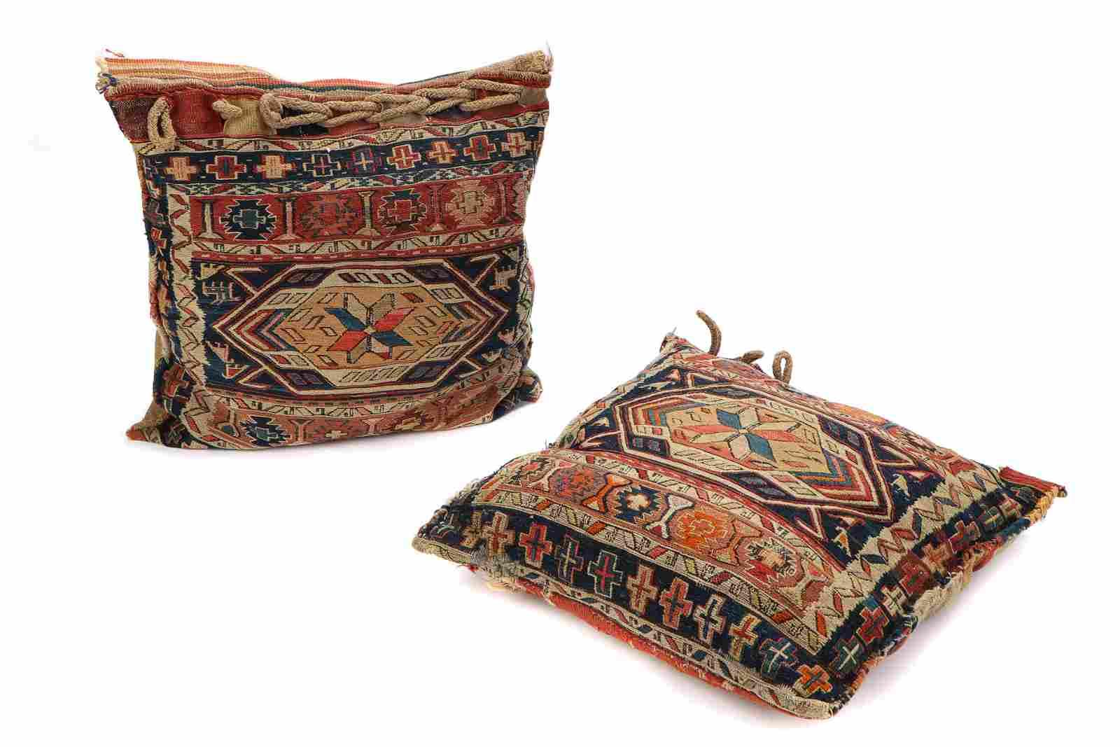 Pair of Antique Caucasian Sumak Saddle Bag Pillows