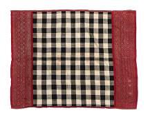 """Balinese """"Saput Poleng"""" Silk Textile with Songket,"""