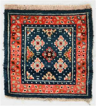 Blue Field Square Rug, Tibet, Late 19th C., 1'11'' x