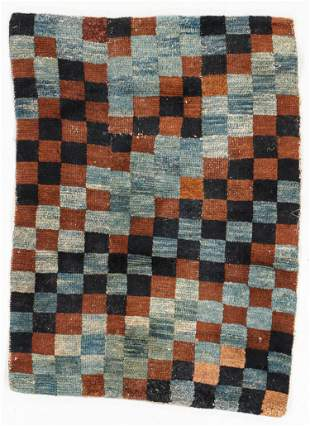 Checkerboard Rug, Tibet, Circa 1900, 2'9'' x 2'1''