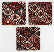 Three Antique Caucasian Rug Pillows w. Backing