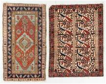 Two Small Antique Heriz and Afshar Rugs