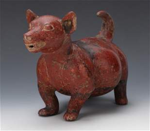 Fine and Rotund Colima Pottery Dog. 200 BCE - 200 CE